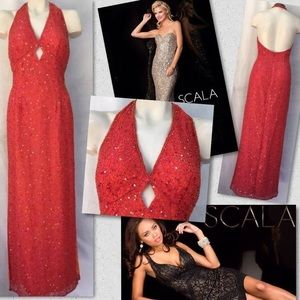 SCALA SILK BEADED OCCASION PROM FORMAL GOWN DRESS